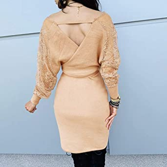 MEIbax damska sukienka z długim rękawem, seksowna sukienka koronkowa, dekolt w szpic, do kolan, z paskiem: Odzież