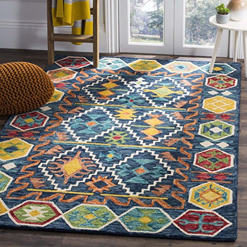 (Safavieh Aspen Collection APN501A Navy and Gold Premium Wool Area Rug (3' x 5'))