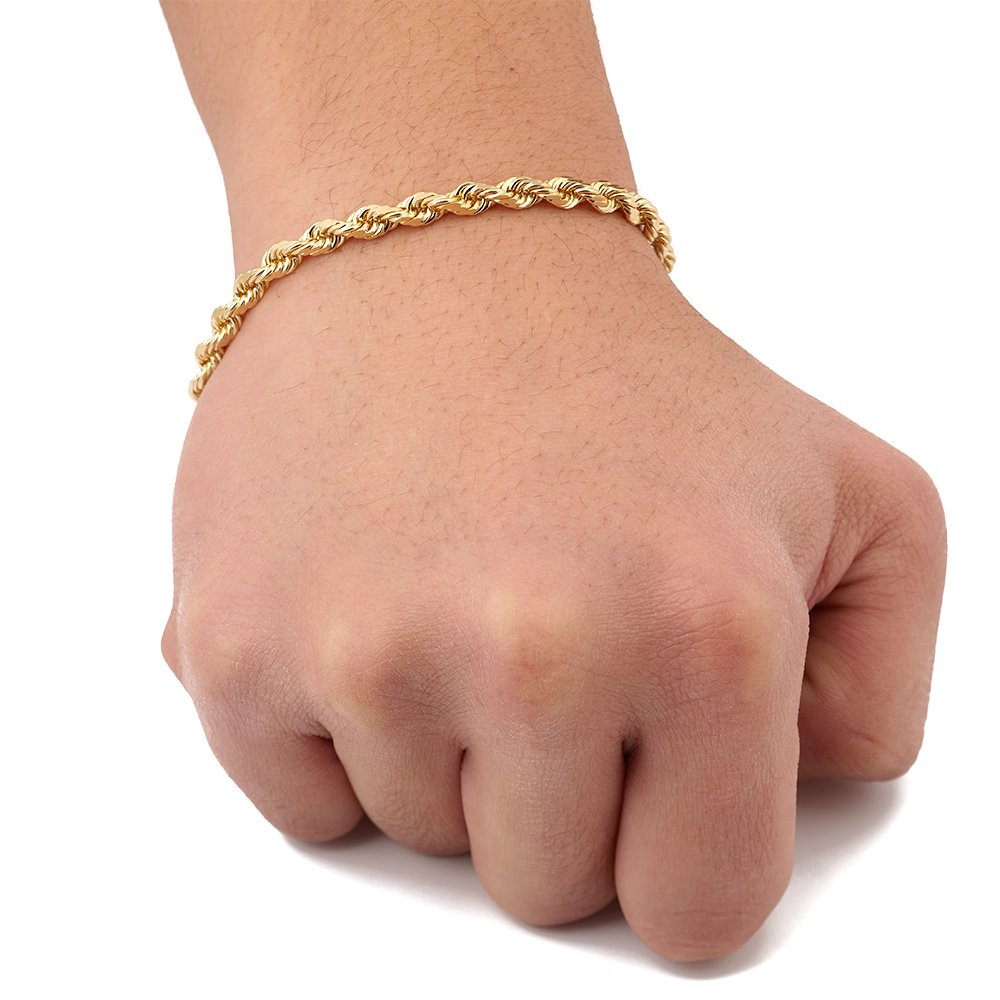 LoveBling 10K Yellow Gold 5mm 8'' Solid Diamond Cut Rope Chain Bracelet with Lobster Lock