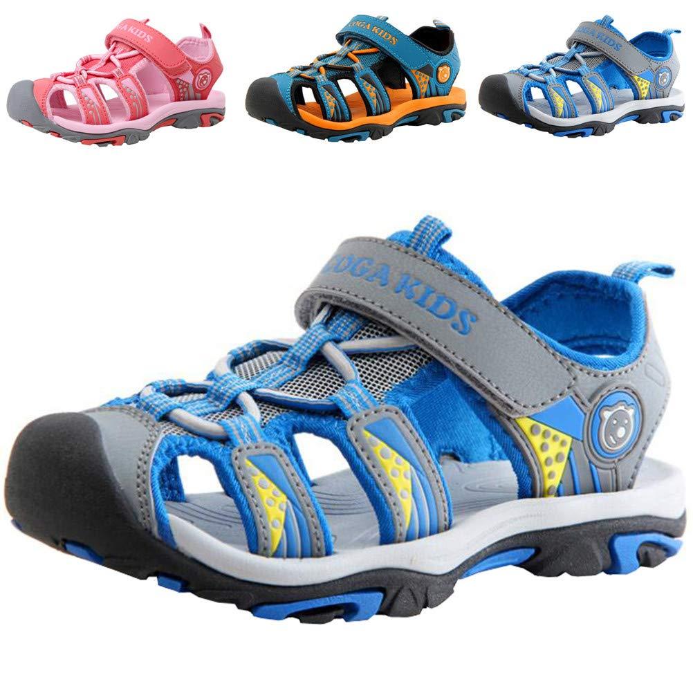 DADAWEN Boy's Girl's Summer Beach Outdoor Closed-Toe Sport Sandals (Toddler/Little Kid/Big Kid) Blue US Size 8 M Toddler
