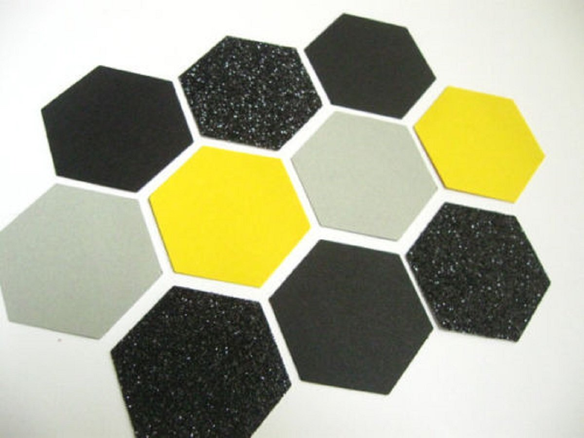 Designs by DH Confetti 100 pieces Paper Hexagon Honeybee Honeycomb Bumble Bee Yellow Black Grey Birthday Baby Shower Graduation Party Decor