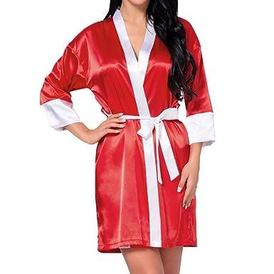 qiansu Bata Kimono para Mujer Satén Lounge Damas de Honor Novia Bata Bata: Amazon.es: Ropa y accesorios