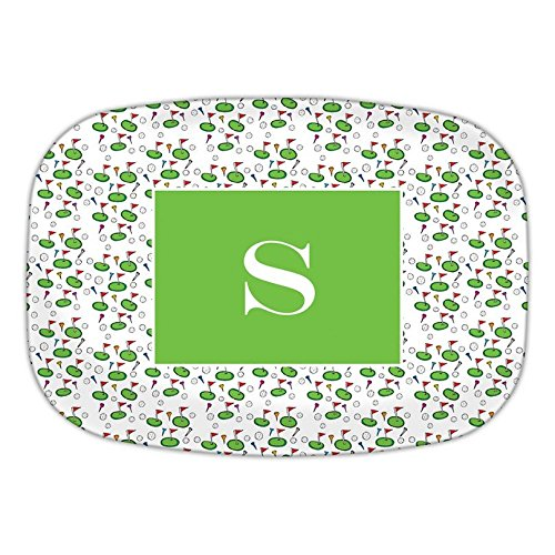Chatsworth Tee Time Melamine Platter with Single Initial, C, Multicolored