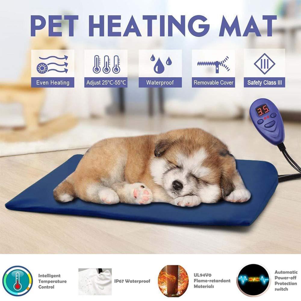 Petilleur Manta Eléctrica para Perros Gatos Almohadilla Térmica Mascotas con 7 Niveles de Temperatura Ajustable, Protección contra Sobrecalentamiento ...