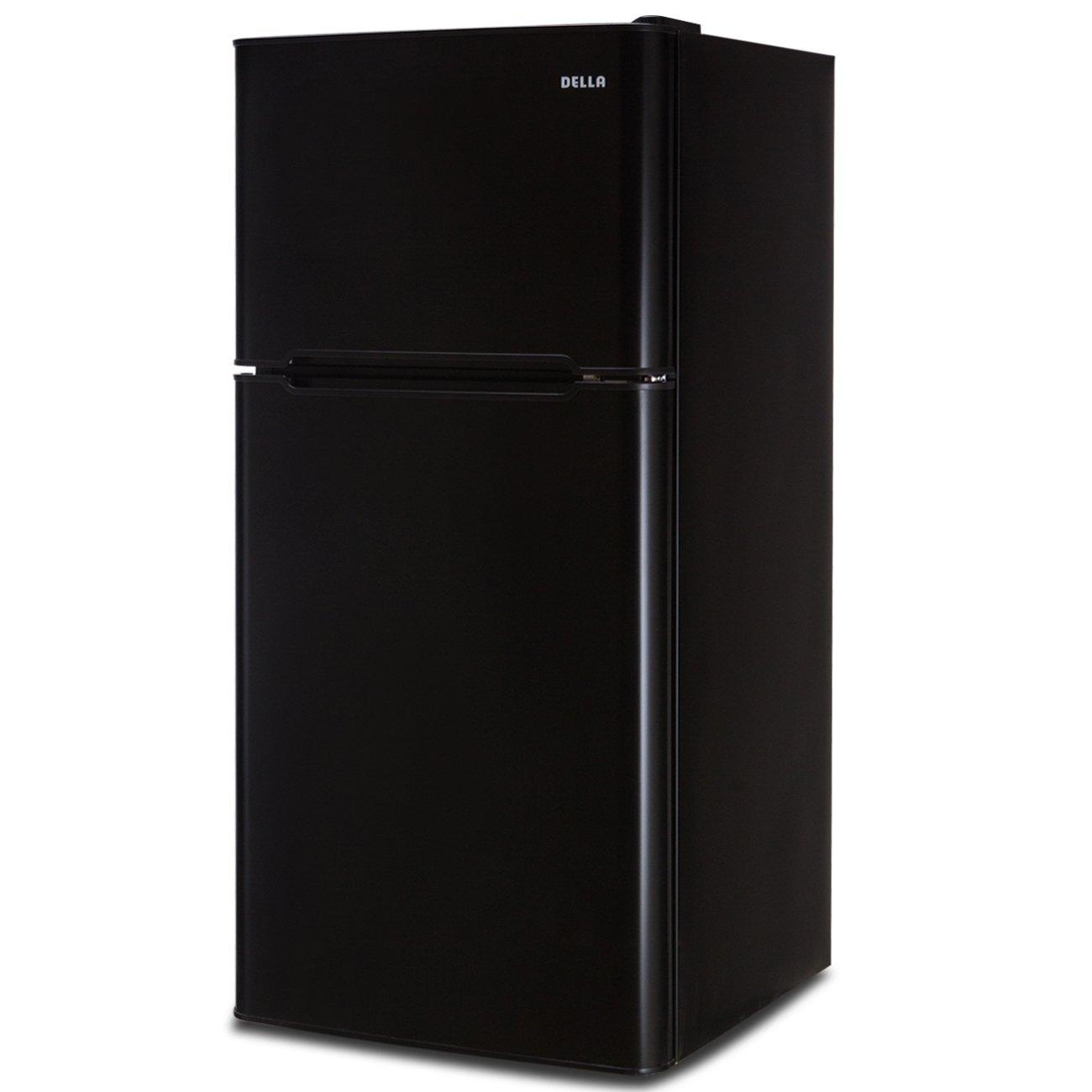 Della Compact Double Door Refrigerator and Freezer Cans Soda Drink Food, 4.5 Cubic Feet, Black