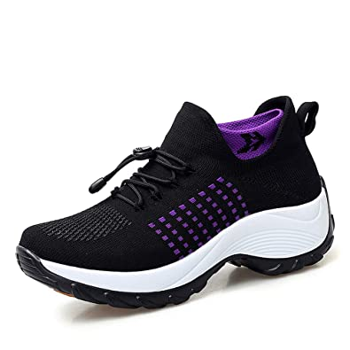 4ca3be3b7c Dannto Womens Running Shoes Sock Sneakers Breathable Lightweight Athletics  Platform Casual Slip On Walking Loafers(