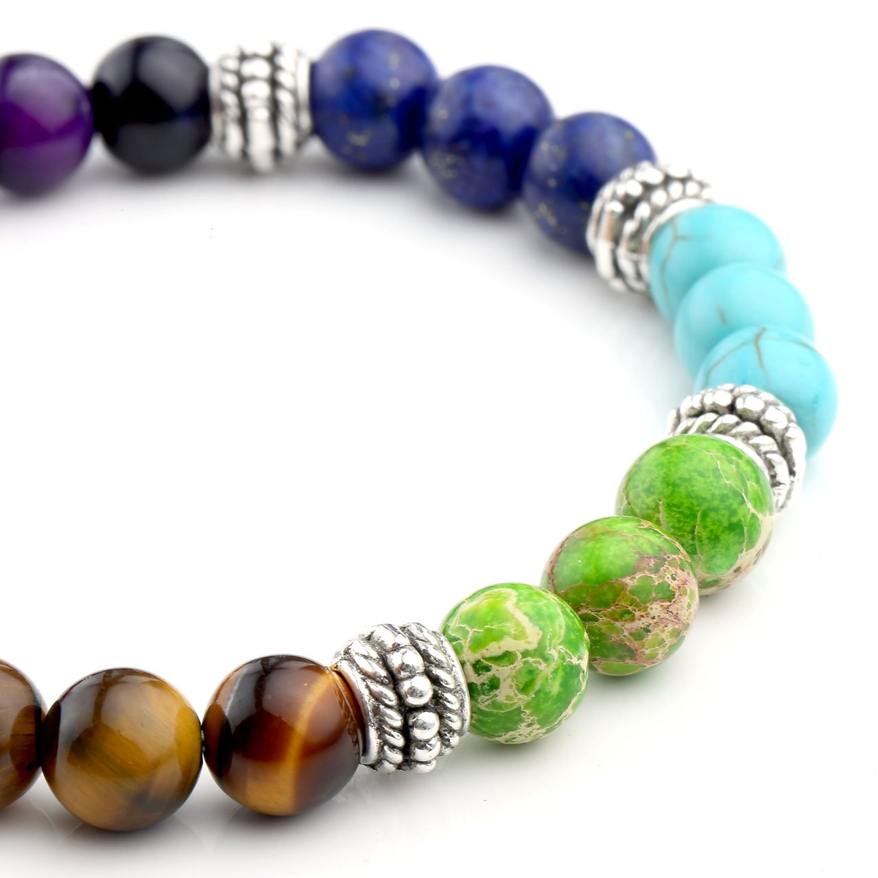 JSDDE Schmuck, Unisex Energietherapie Yoga-Armband 7 Chakra Healing Balance Armreif Wurzelchakra Elastisches Armband