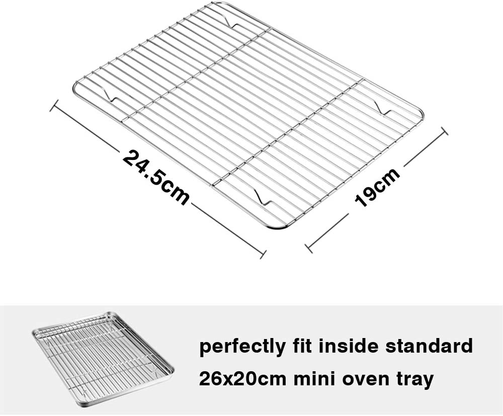 Stainless Steel Small Grill Wire Rack for Roasting Baking Cooking Grilling TeamFar Cooling Rack Set of 2 Healthy /& Anti-Rust 2 Same Size 24.5x19x1.5cm Fit Toaster Oven Dishwasher Safe