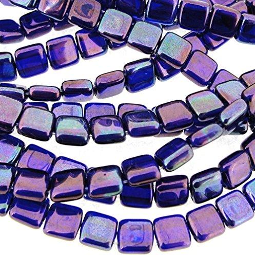 Cobalt Square Beads - Czechmate 6mm Square Glass Czech 2-Hole Tile Beads - Cobalt Vega (25)