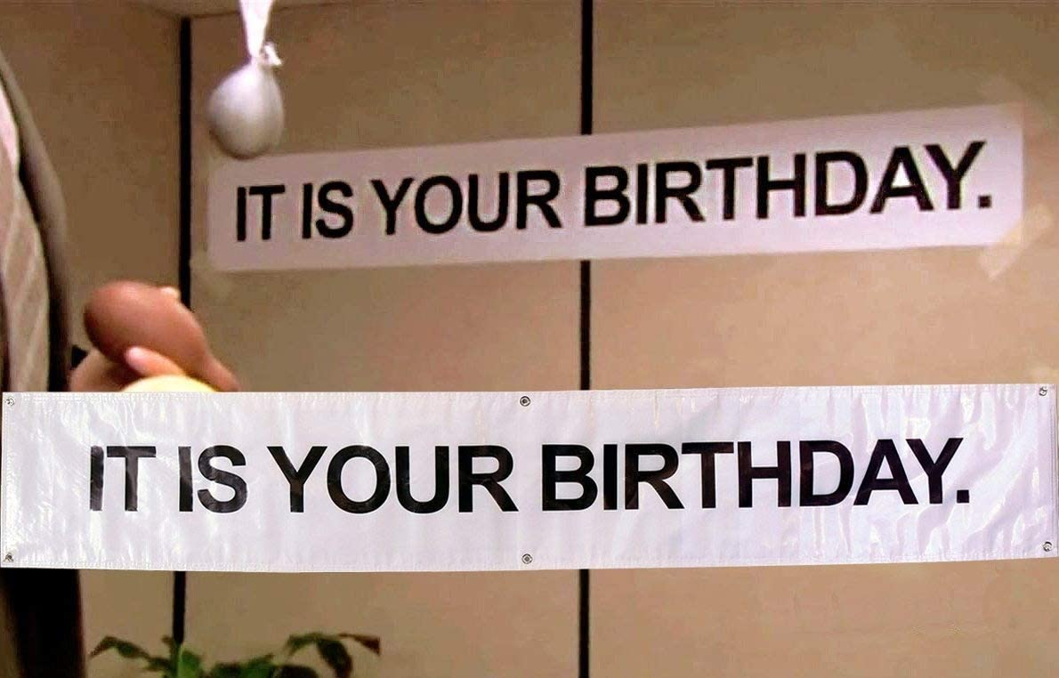 Birthday Banner -IT IS YOUR BIRTHDAY. in The Office by Guritta – The Birthday Party Banner As Seen On TV Show – The Office - Vinyl Birthday Banner With Metal Hanging Rings