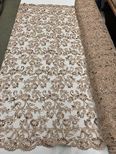 Floral Lace Embroided Fabric with Sequins - Champagne - Embroidered Flowers Mesh Sequined Fancy Lace Fabric Sold By The Yard