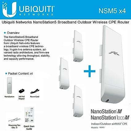 Amazon com: Ubiquiti NSM5 Bundle of 4 NanoStation M5 5GHz