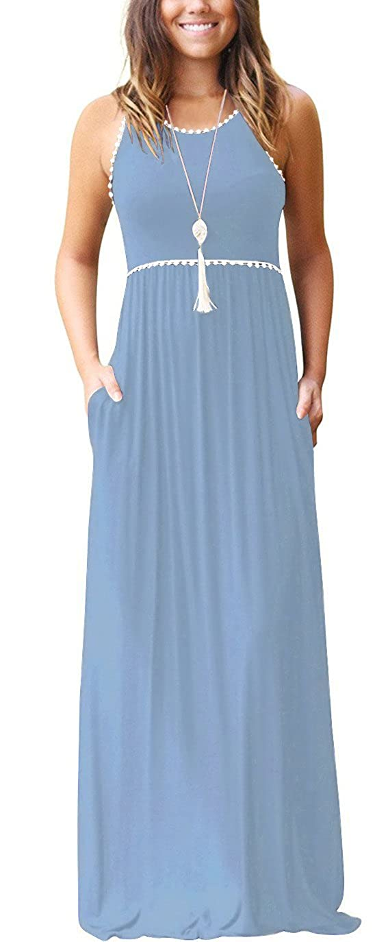 01 Light bluee WEACZZY Women's Sleeveless Loose Plain Vacation Days Maxi Dresses Casual Long Dresses with Pockets