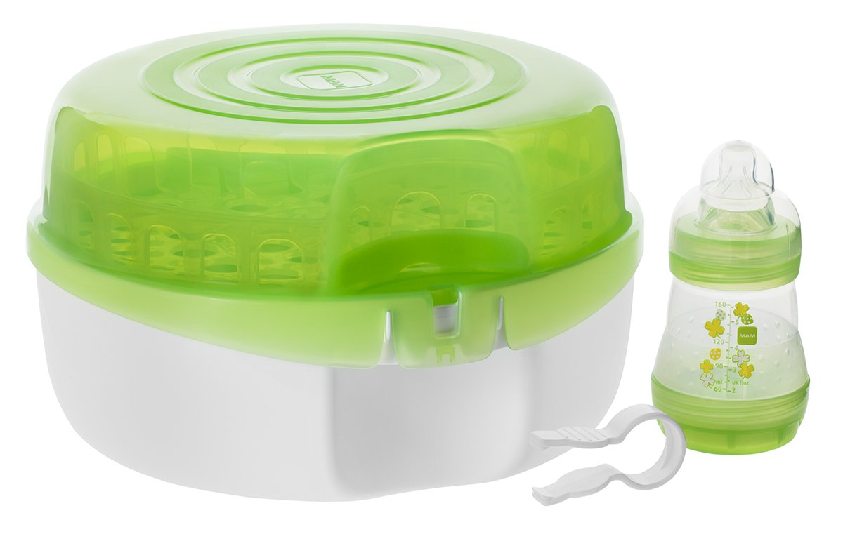 MAM Bottle Sterilizer, Microwavable, Includes 5-Ounce Anti-Colic Bottle and Tweezers, 3-Count, (Unisex) C6601-002-1-1