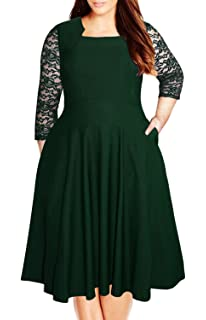 bd88af25ea9 Nemidor Women s Vintage Square Neck Floral Lace Sleeve Plus Size Cocktail  Swing Dress