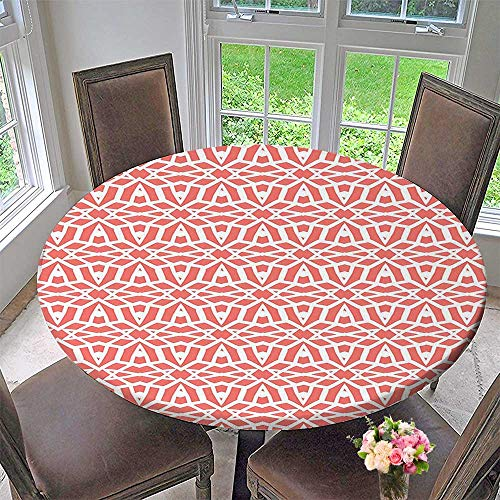 Simple Modern Round Table Cloth Star Figure Interlace Roman Motif with Diffraction Kitsch Orange White for Daily use, Wedding, Restaurant 55