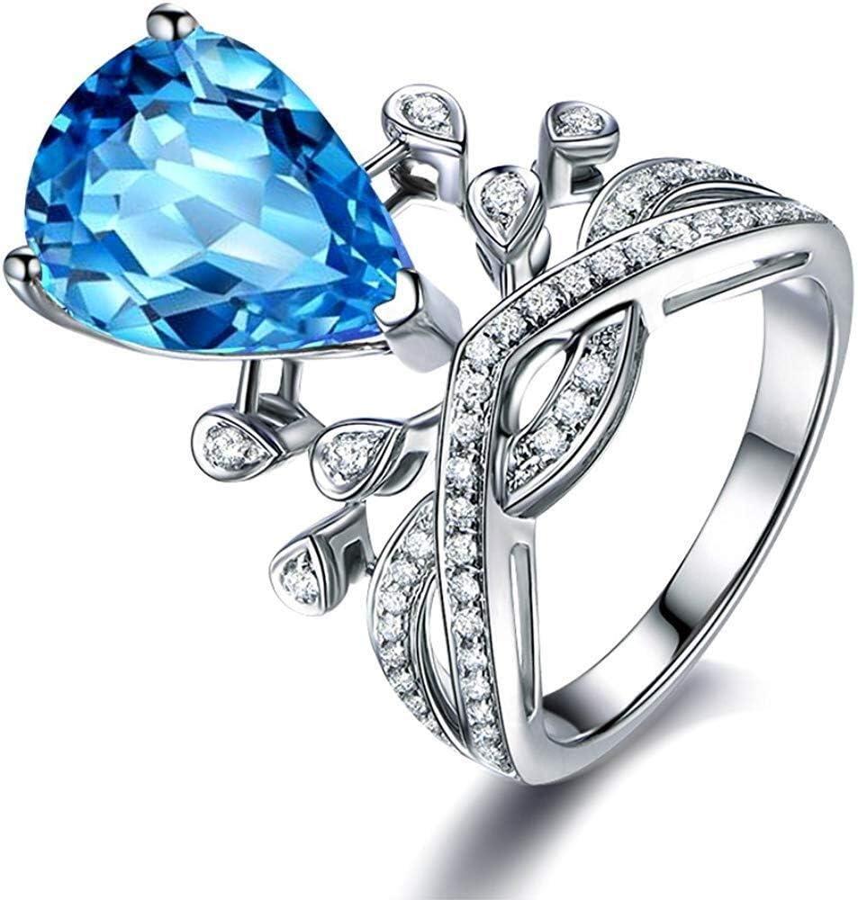 女性のためのクラウンスタイルロンドンブルートパーズアメジストシトリン宝石9Kホワイトゴールドダイヤモンド婚約結婚記念日のパーティーリングセット