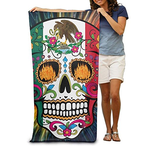 si fang Mexico Flag Detailed Mexican Sugar Skull Day of The Dead Retro Vintage Mexico Adults Fiber Maximum Softness and Absorbency Beach/Bath/Pool Towel by si fang
