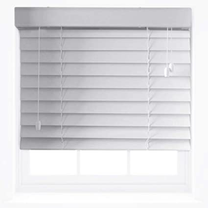 Quality White Faux Wood Venetian Blinds Trimmable Up To 45cm X 150cm