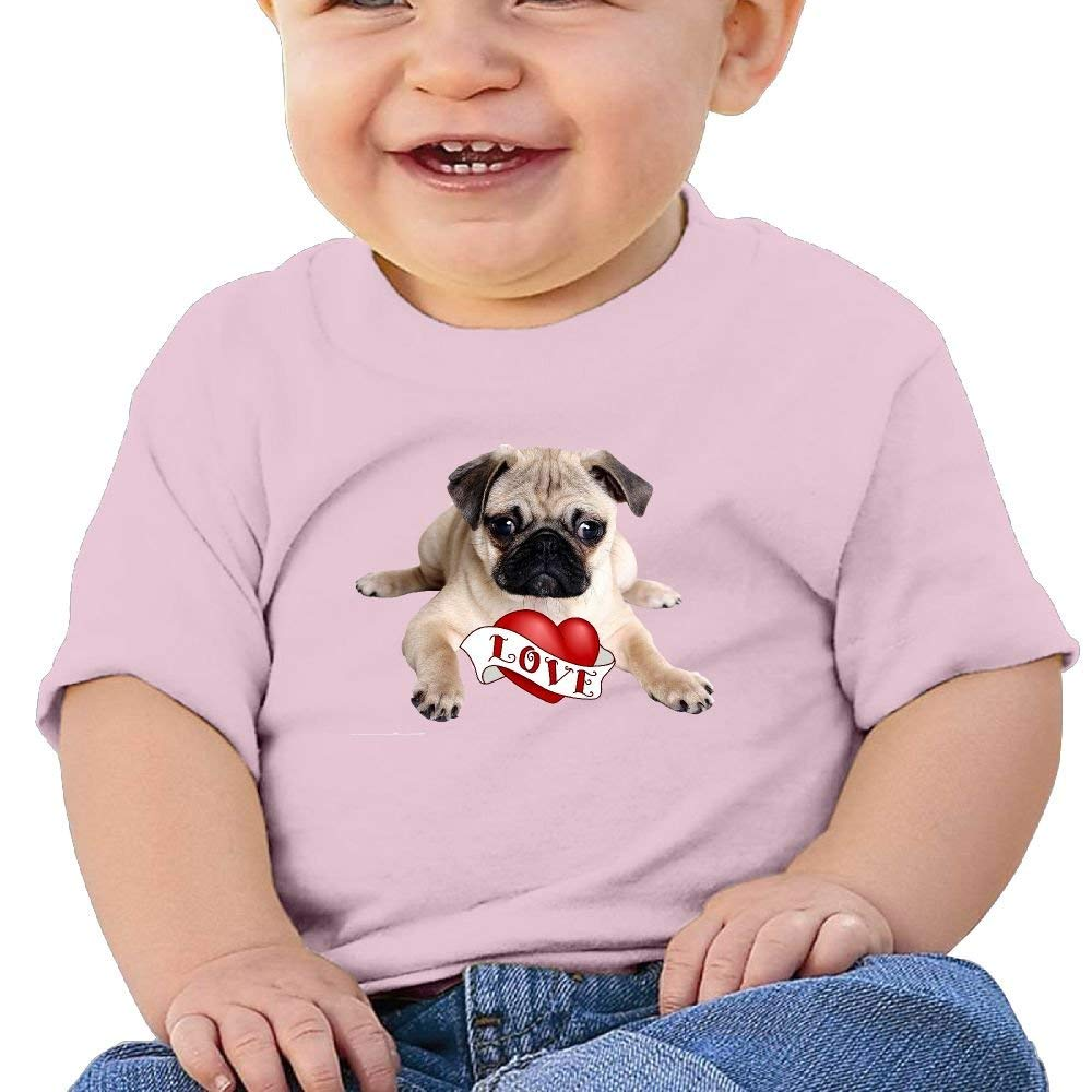 Cute Short-Sleeves T Shirts Love Pug 6-24 Months Baby Boy Toddler
