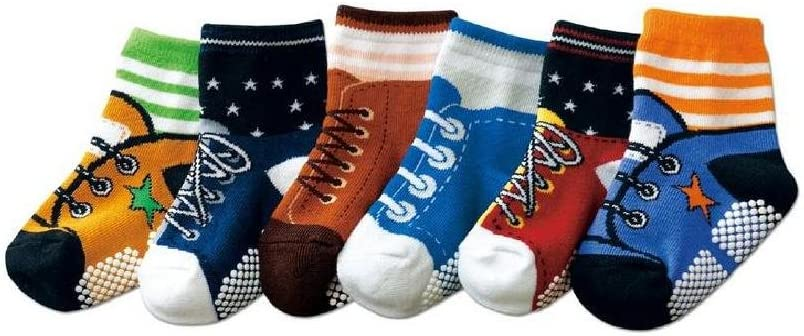 AGE 1 2 3 Boys Toddlers Kids 6-pack Funky Graphic II NON SKID Shoe-like Socks