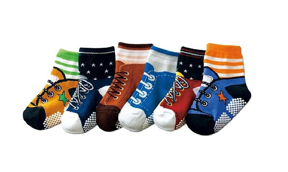 Boys Toddlers Kids 6-pack Funky Graphic II NON SKID Shoe-like Socks - AGE 1 2 3 (9-15cm)