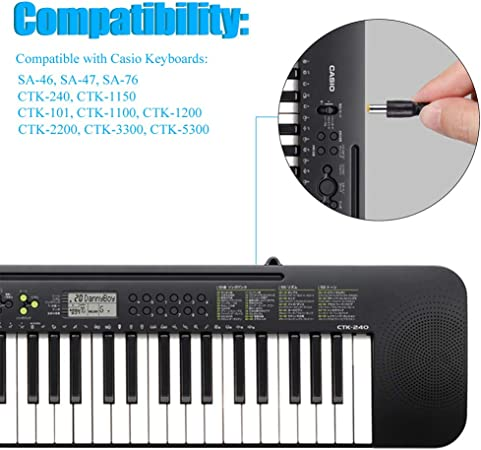 SoulBay 9.5V AC/DC Adaptador para Teclado de Piano Casio ADE95100L SA-46 SA-47 SA-76, 6.5 pies Cable de alimentación de Repuesto