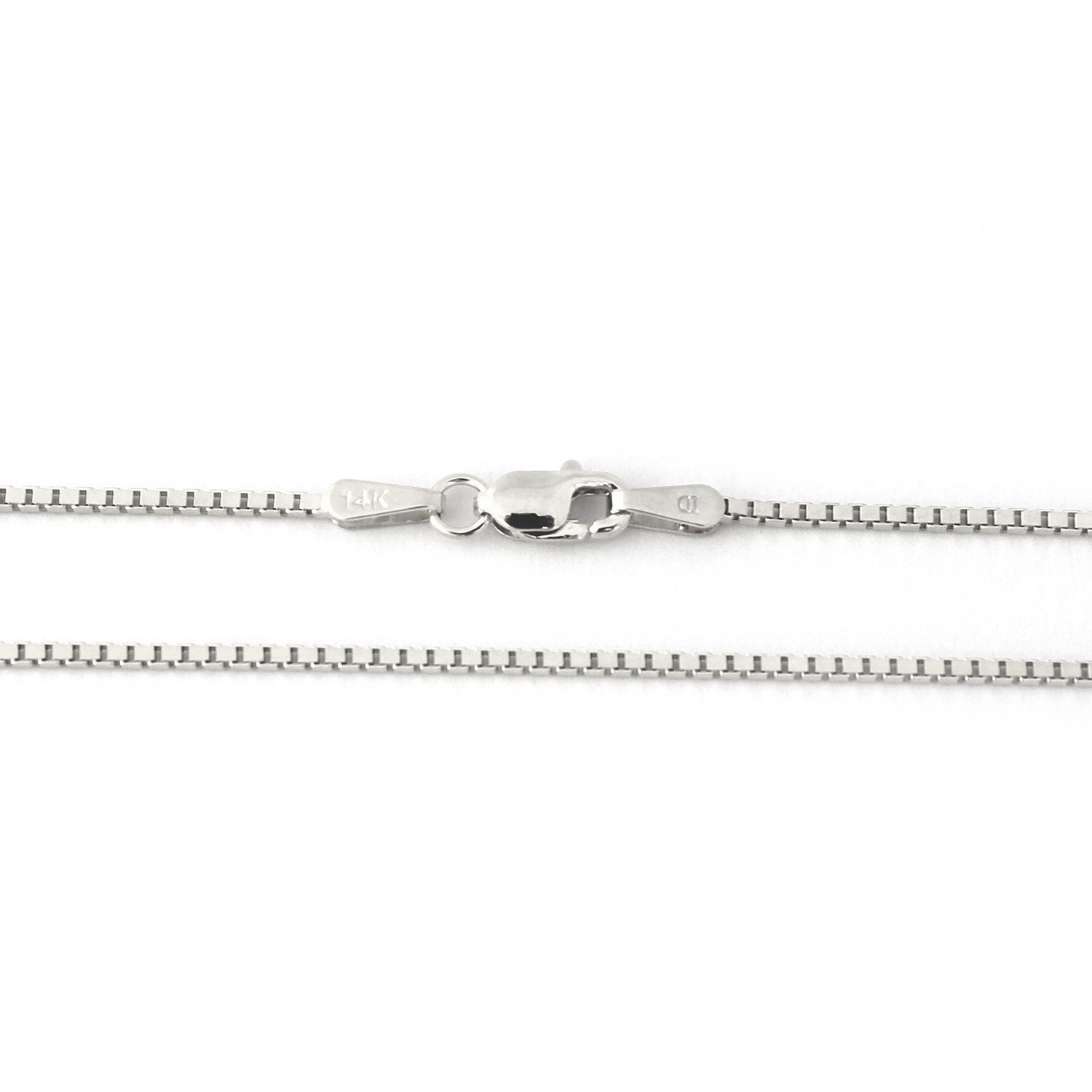 14k White Gold 1.1mm Box Chain Necklace, 22''