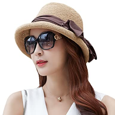 Siggi Ladies Floppy Summer Sun Beach Straw Hats UPF Foldable Bucket Cloche  Hat for Women 56 9ee5a25b8e0