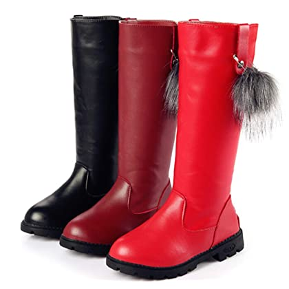 0ee9fcdf7be8 ... DADAWEN Girl s Waterproof Pom Pom Back Zipper Fur Tall Riding Boots ( Toddler Little Kid ...