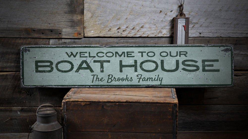 Amazon.de: Welcome Boat House Holz Schild, Personalisierbar, Familie  Letzten Namen Geschenk, Custom