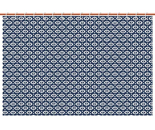 iPrint Shower Curtain [ Ikat,Circles with Dots Tribal Ornate Pattern Ethnic Vintage Design Traditional Asian Decorative,Dark Blue White ] Polyester Fabric Bathroom Shower Curtain Set with Hooks (Valance Dot Circle)