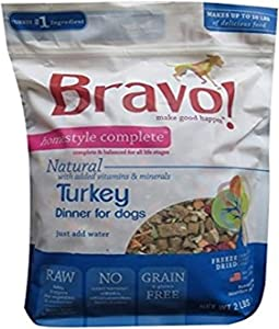 Bravo Homestyle Freeze Dried Dinner Turkey Food, 2 Lb