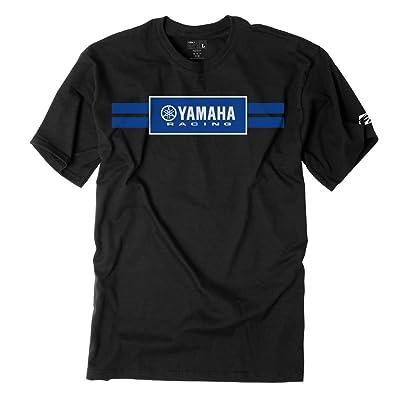 Factory Effex Unisex-Adult Yamaha Racing Stripes T-Shirt (Black, Large) - 19-87204: Automotive