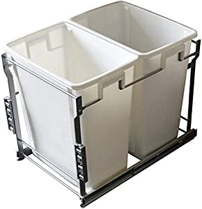 Laurey 90103 22 L Double Bin System Rollout Trash Can, White