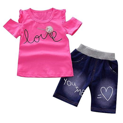 933a23dcb745 2019 Infant Baby Girls Off Shoulder Ruffle Letter Print Tops T-Shirt+Short  Pants