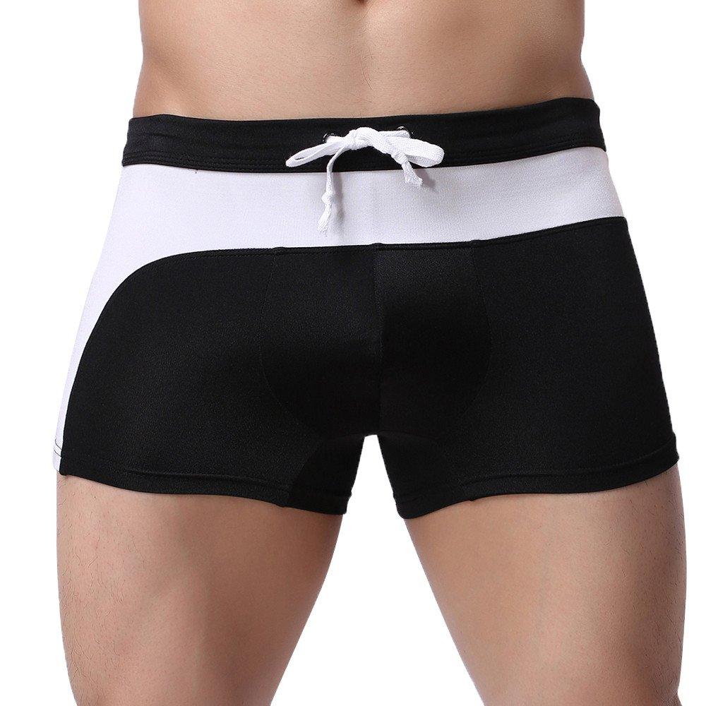 F_Gotal Men's Swim Trunks Slim Fit Quick Dry Strip Swimming Shorts with no Pockets Beach Swimwear Bathing Suits Black