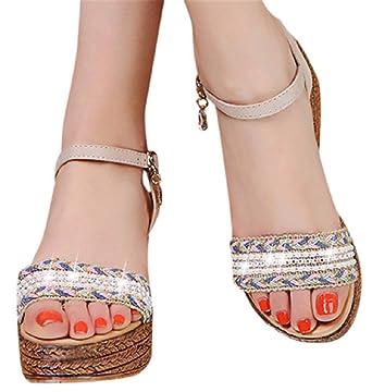 fb21d609b15b1 Amazon.com: Wedge Platform Sandals Shoes Women Thick Bottom Sandals ...