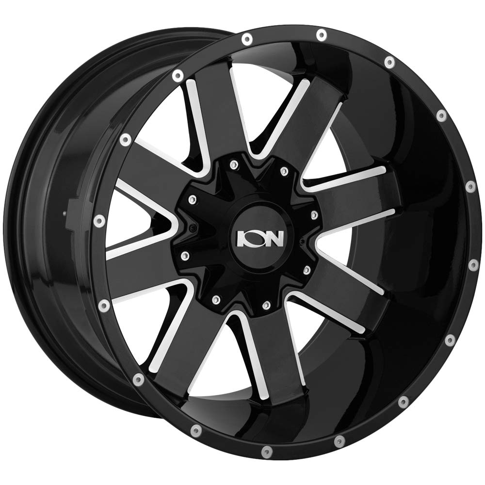 ION BLACK Wheel with GLOSS MILLED SPOKES 141 0 x 9. inches //6 x 135 mm, -12 mm offset