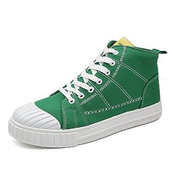 HhGold Zapatos Deportivos Planos para Hombre de 2018 Mocasines con Cordones Ocasionales Zapatillas Altas de Lona monocromáticas (Color : Verde, ...
