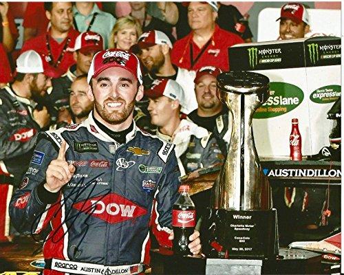 Autographed Austin Dillon Photograph - 2017 DOW Coca Cola 1st Win Monster Cup 8x10 - Autographed NASCAR Photos -