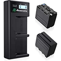 Powerextra 2 Pack 8800 mAh Replacement Sony NP-F970 Battery and Smart LCD Display Dual USB Charger for Sony NP-F930 NP…