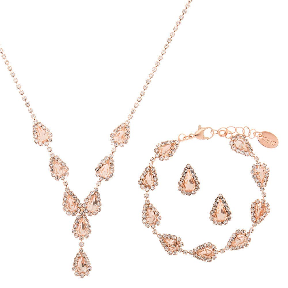3 Pack Claires Girls Rose Gold Teardrop Jewellery Set