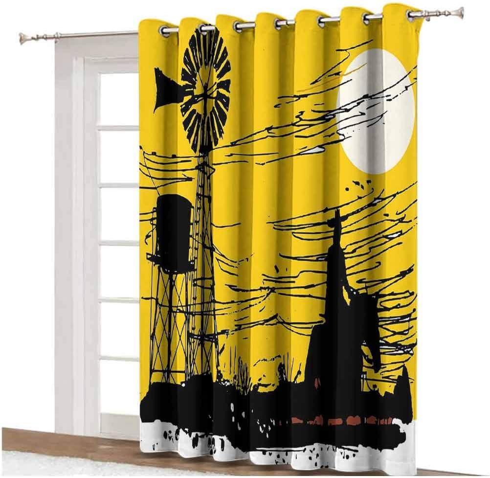 Windmill Decor Cortinas opacas para puerta de patio, diseño de vaquero en caballo al atardecer, panel individual de 254 x 274 cm, para puerta de vidrio grito