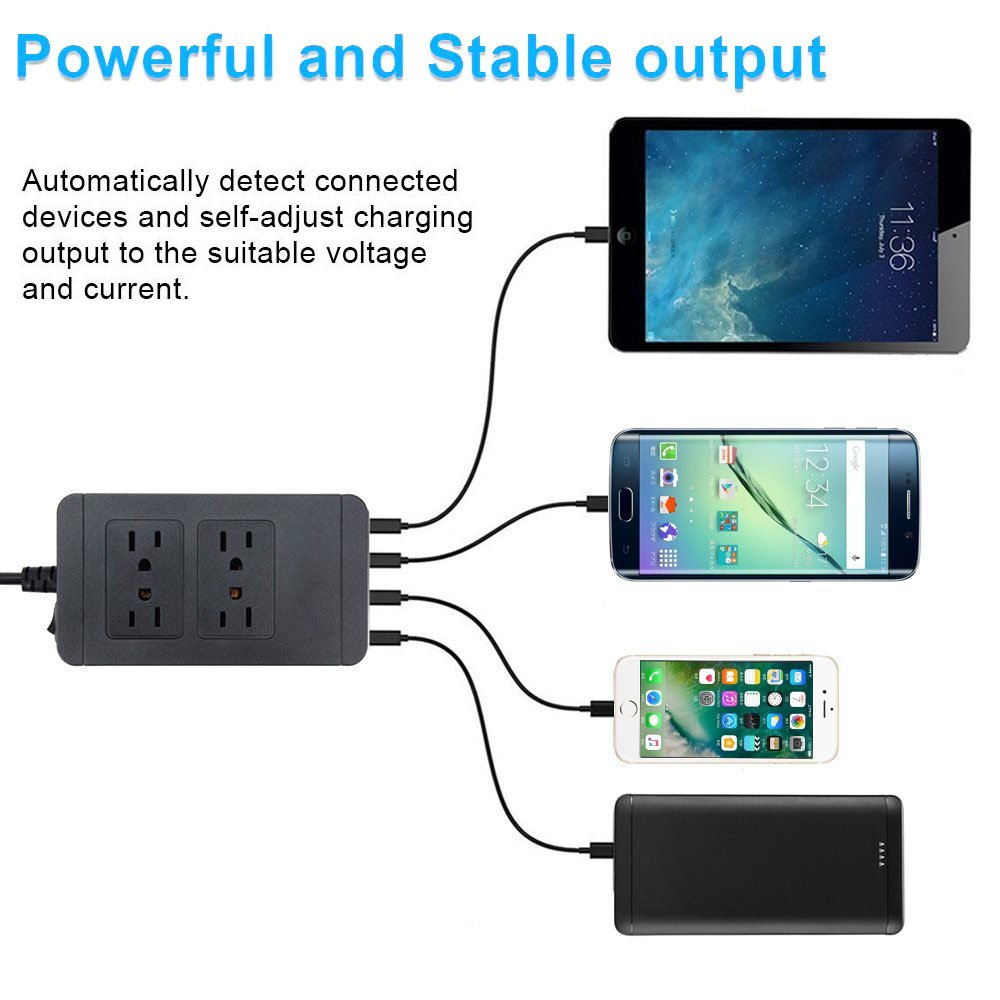 Jinwen 4-Outlet Power Strip with 4-Port USB Charging Station Switches Surge Protector 6ft Cord Extension 01