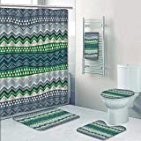 Philip-home 5 Piece Banded Shower Curtain Set Boho Style Seamless Decorate The Bath