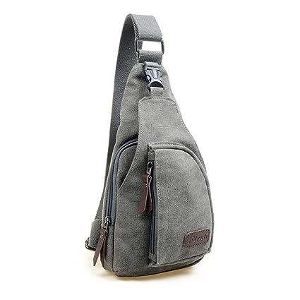 ab110a1c1 Hombres deportes LEORX wsmxdf bolso mochila bandolera desequilibrio - talla  L (Gris)
