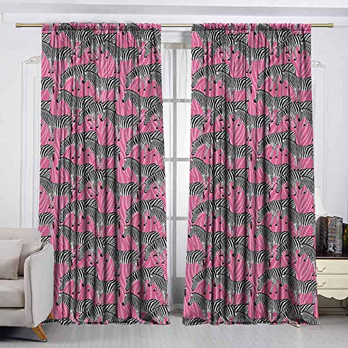 VIVIDX Curtain Tailored,Pink Zebra,Zebras Pattern Wild Animal Hippie Indie Stylized Tropical Tones Pastel,for Patio/Front Porch,W63x63L Inches White Black - Pink Palm Pre Zebra