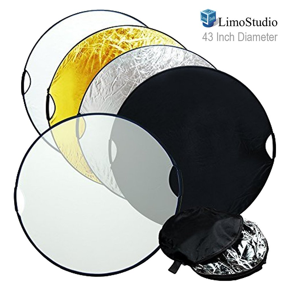 LimoStudio 43 Inch Photo / Video Studio Reflector, New Hand Held 5-in-1 Collapsible Lighting Reflector Disc Board Panel, Photography Studio, AGG736