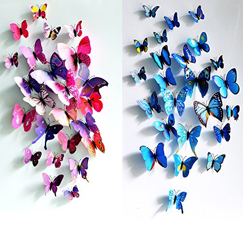 24 PCS PVC 3D Butterfly Fridge Magnets Refrigerator Magnets Wall Stickers with Magnet for Wall Decor Art Decor Crafts Home Party Decoration (bule & purple)